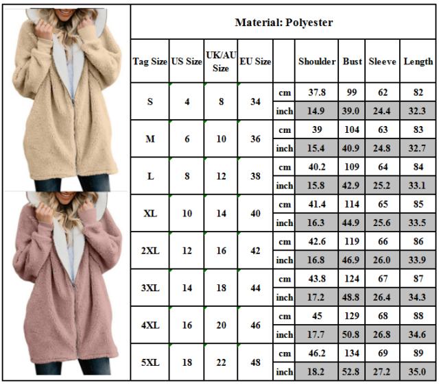 Up Hooded Fur Bear Fleece Outwear Pocket Warm Teddy Fluffy Women Coat Jacket Zip yYbf76g