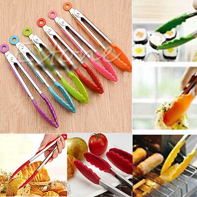 1PC Cooking Safe Plastic Salad Serving BBQ Tongs Stainless Steel Handle Utensil