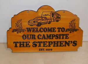 Personalized-Wood-Sign-Camp-Camper-RV-Family-Name-Any-text-Laser-engraved-Gift