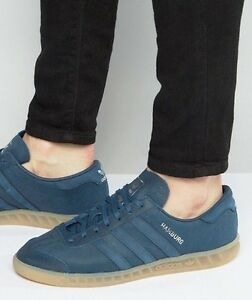 new arrivals bf31b d9dd4 Image is loading Adidas-Hamburg-Mineral-Blue-Leather-Gum-Sole-Men-