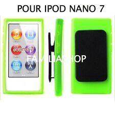 Housse etui coque silicone vert avec Clip pour iPod Nano 7 7G