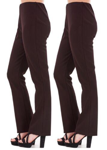 2 CONF da Donna Bootleg Pantaloni Donna Bootcut Stretch Finemente a Coste lavoro Bottoms