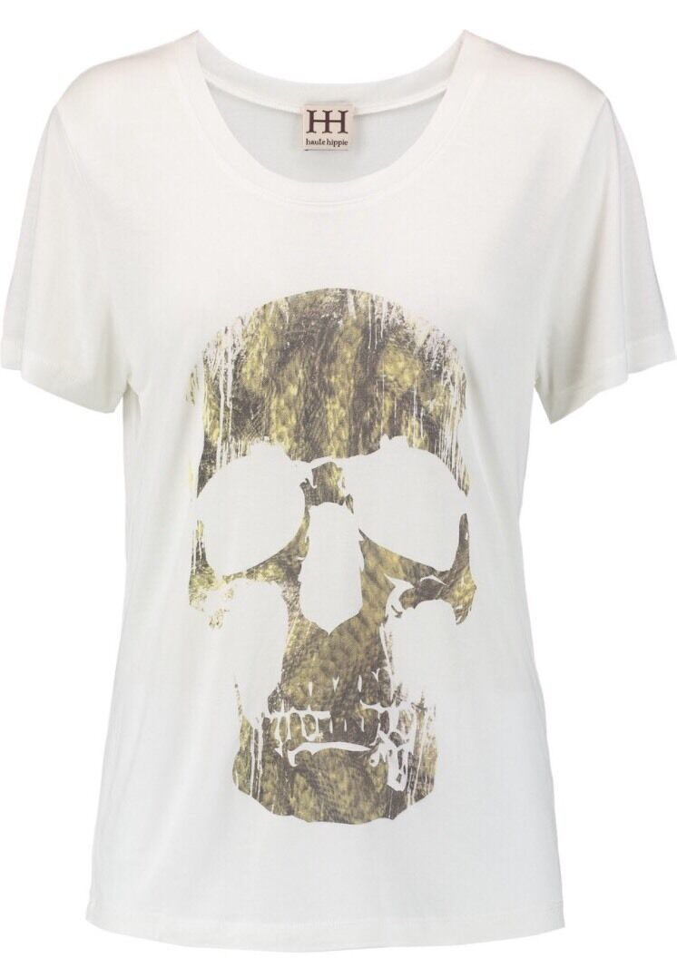NWT  Haute Hippie Woherren Ivory   Grün Skull Modal Tee T Shirt Sz XS