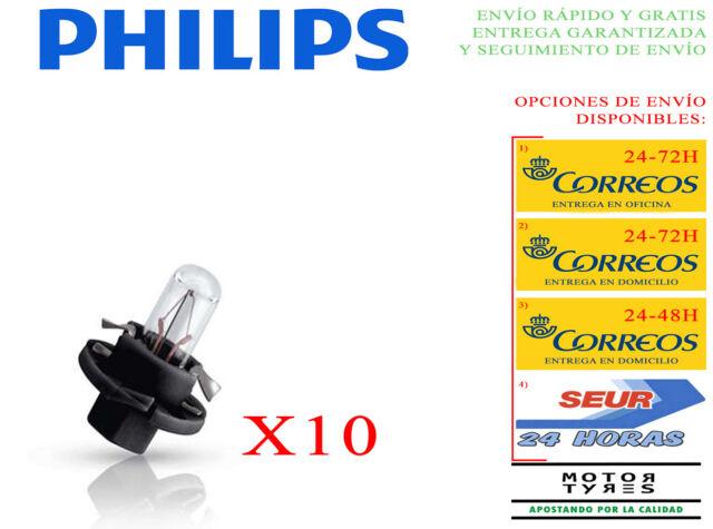 10 BOMBILLAS PHILIPS VISION BAX 8,4d NEGRO LAMPARAS +30% LUZ 12V 1,2W COCHE MOTO