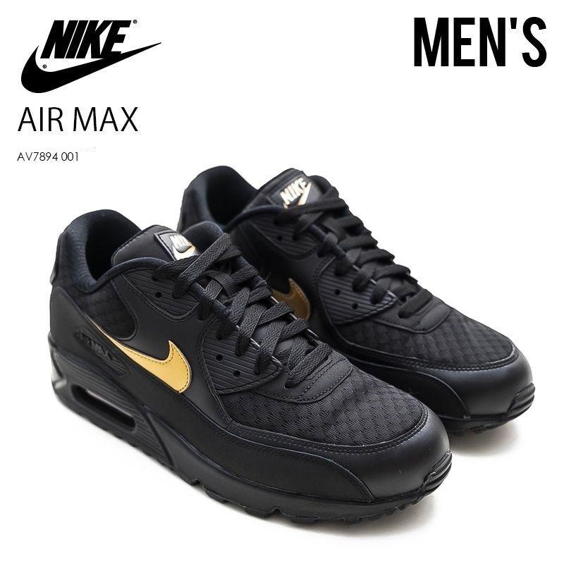 Nike Air Max 90 Essential Black Metallic Gold AV7894 001 ...