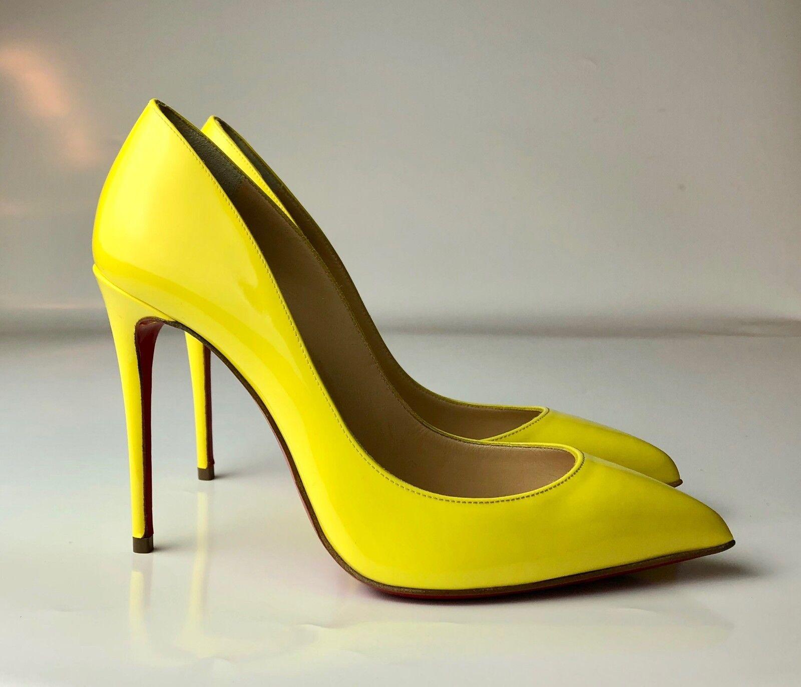 Christian Louboutin Pigalle Follies 100 Patent Sun Yellow Heels Pumps Euro 34.5