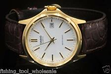 MTP-1183Q-7A Gold White Casio Watch Genuine Leather Band Date Display Analog