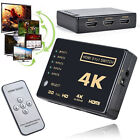 3D 5-Port 4K HDMI Switcher Switch Selector Splitter Hub iR Remote For HDTV 1080p
