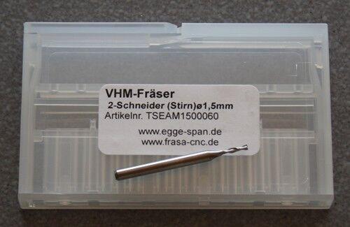 Ø 1.50mm Stirn VHM-Fräser 2-Schneider