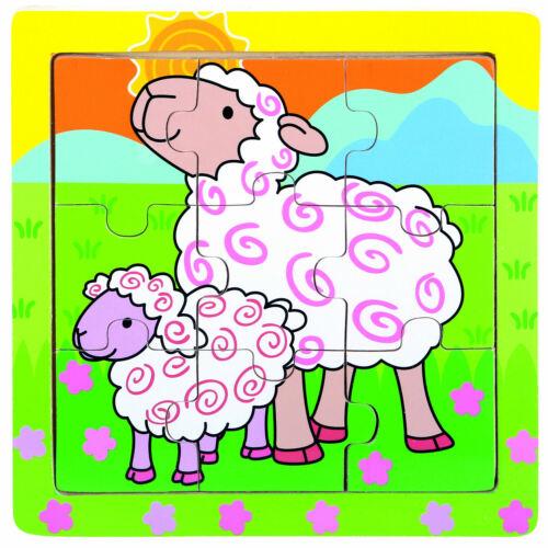 Kühe Schaf Holzspielzeug Puzzle 9 Teile 15x15cm Bino Einlegepuzzle Schwein