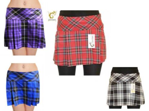 New Womens Ladies Crazy Chick Box Pleated Tartan Skirt 14 Inches