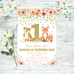 WOODLAND-FIRST-1ST-BIRTHDAY-INVITATION-FOREST-ANIMALS-FLORAL-GIRL-PARTY-SUPPLIES
