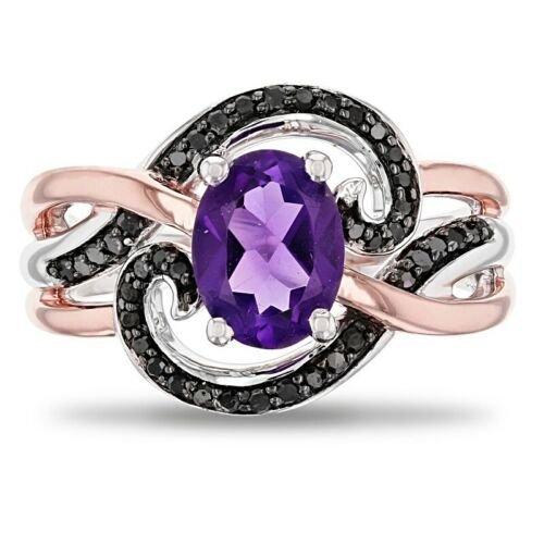 Details about  /2Ct Purple Oval Diamond Two Tone Engagement Wedding Ring In 925 Sterling Silver