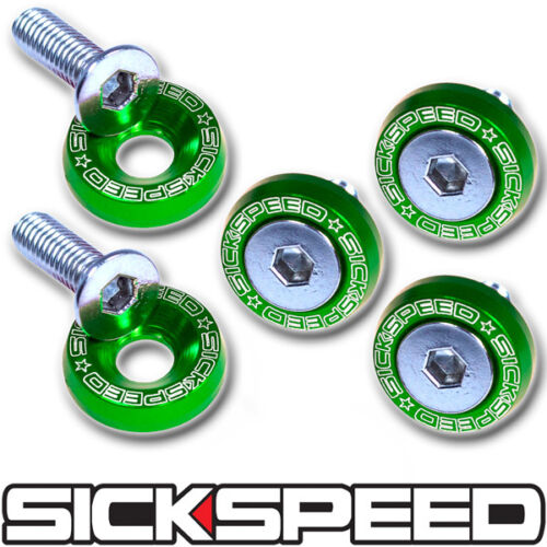 GREEN 5 PC BILLET ALUMINUM FENDER WASHERS FOR 10MM BOLT CAR//TRUCK//SUV P3