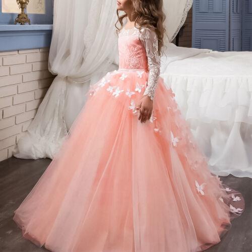 Dentelle Fleur Fille Robe Princesse Papillon robe de bal pour Mariage Fête D/'Anniversaire