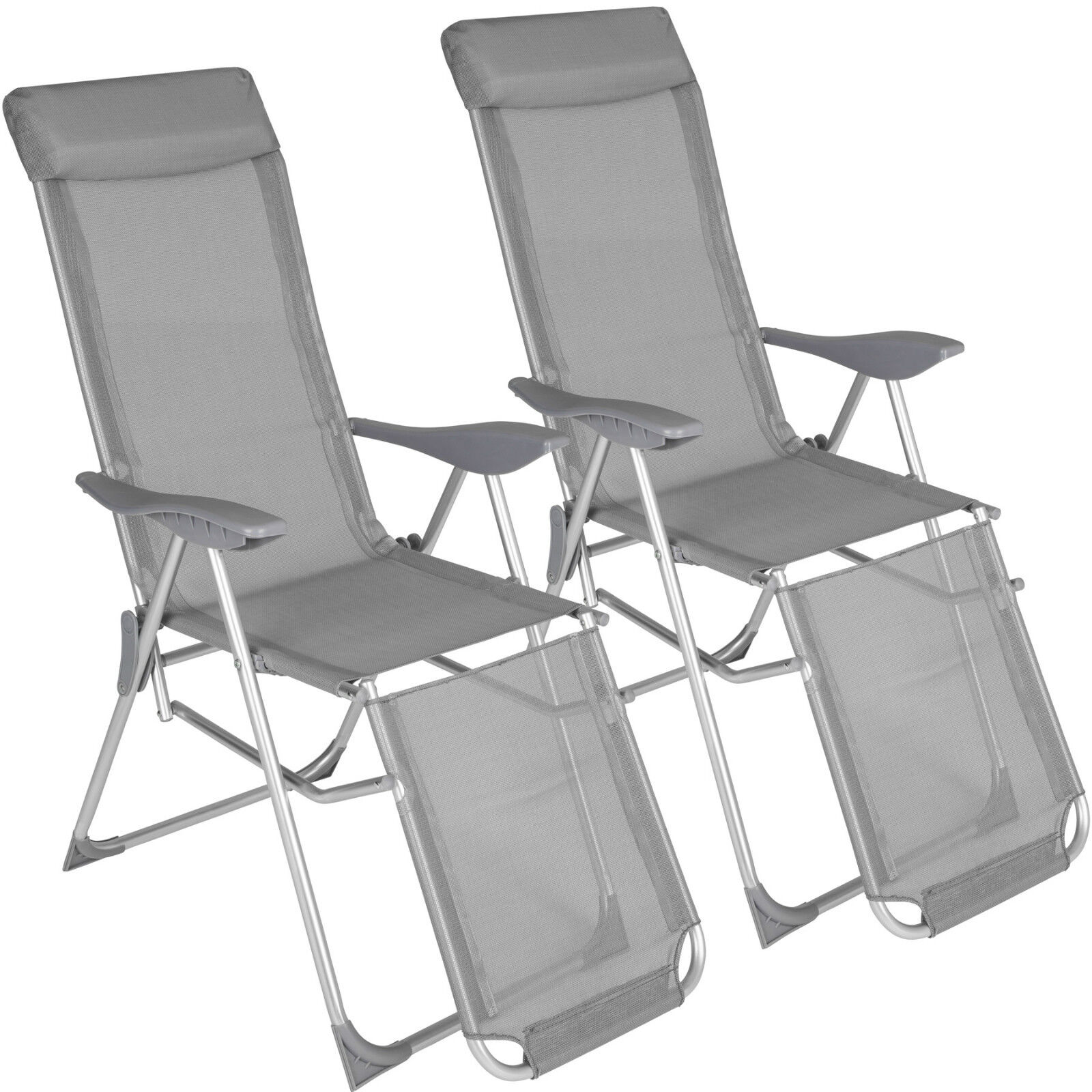 Juego de 2 sillas de aluminio plegable silla taburete jardín terraza varias posiciones