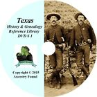 TEXAS - History & Genealogy - 190 old Books on DVD - Ancestors, County, CD, TX