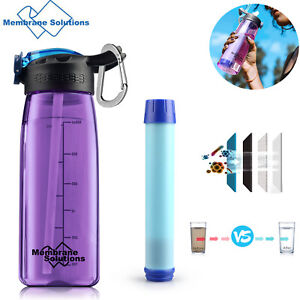 22 oz Water Filter Bottle Intergrated Straw Survival Camping Hiking Backpacking
