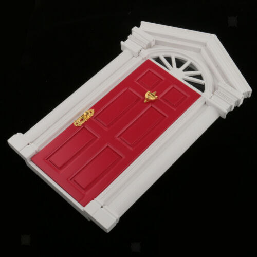 Red Wooden Front Door Dollhouse Miniature Accessory for European Villa