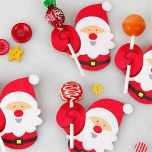 Lots-50PCS-Christmas-Santa-Lollipop-Stick-Paper-Candy-Chocolate-Xmas-Decor-DIY