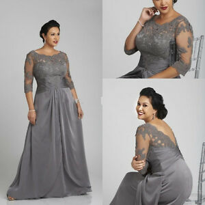 Details about Elegant Plus Size Mother of the Bride Dress 3/4 Sleeve Formal  Evening Gowns 2017