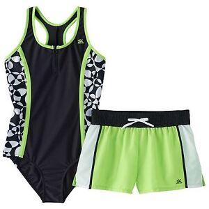 1d7335d501 New Girls 8 ZeroXposur Lime Green Black White One Piece Swimsuit ...