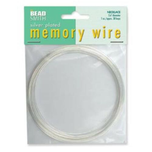 """90mm NECKLACE JEWELLERY WIRE 1oz BEADSMITH SILVER PLATED MEMORY WIRE 3.6/"""""""