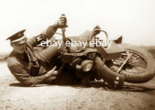 UNITED STATES ARMY US USA MILITARY POLICE MP MOTORCYCLE POLICEMAN DOWN PHOTO