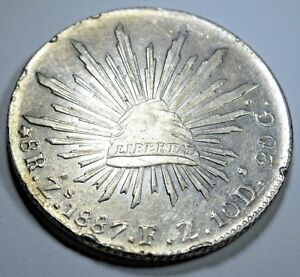 1887-FZ-Mexico-Silver-8-Reales-Pieces-of-Eight-Real-Antique-Mexican-Dollar-Coin