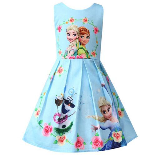 Kinder Mädchen Elsa Anna Einhorn Prinzessin Tutu Kleid Sommer Party Festkleid DE
