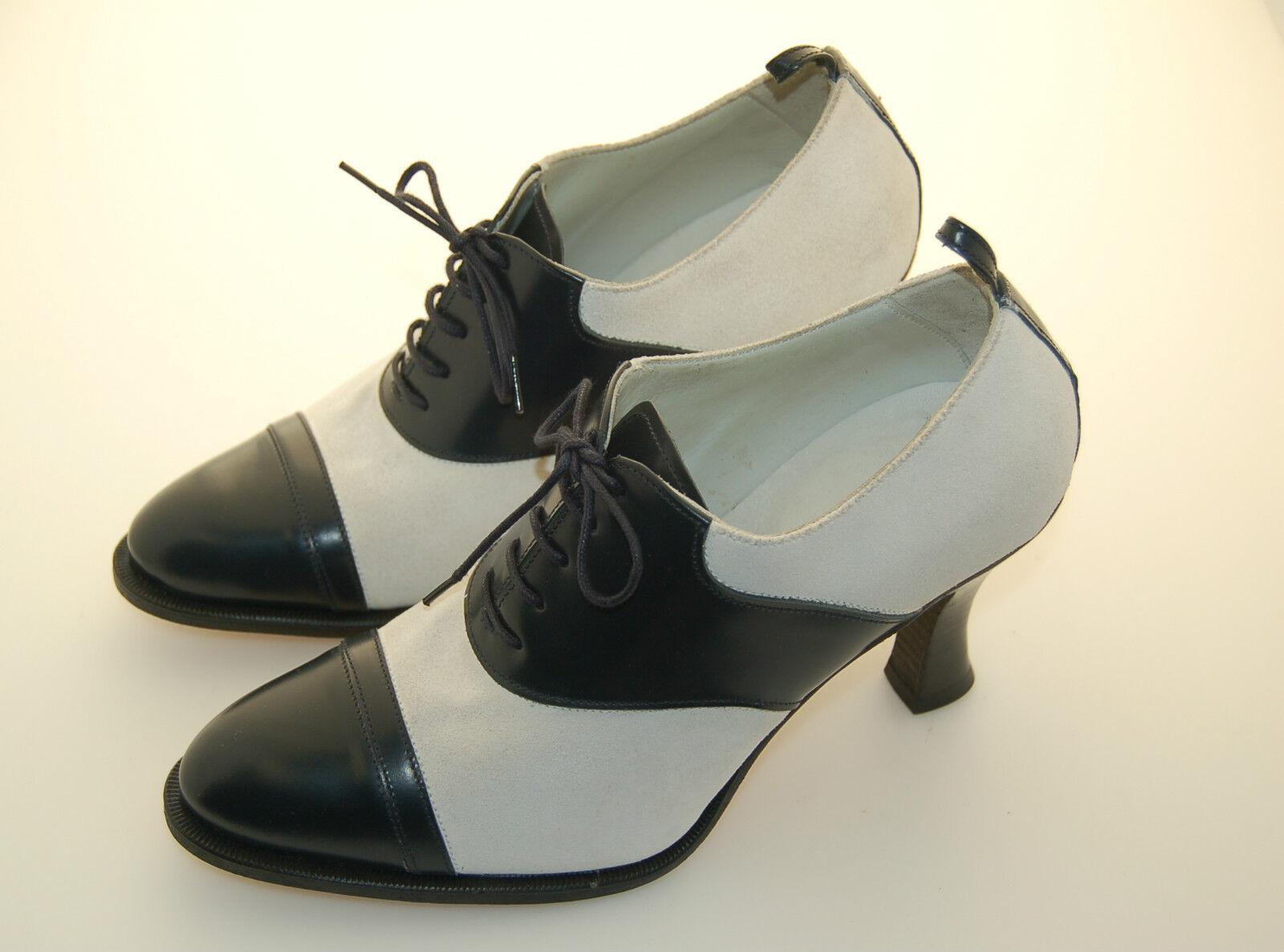 WOMAN - damen - 38 - OXFORD CAPTOE - CALF Blau + SUEDE Weiß - LEATHER SOLE