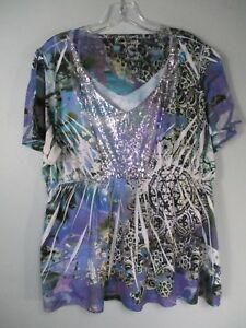 Cato-Women-039-s-18-20-W-Boho-Abstract-Sequined-Short-Sleeve-Tunic-Blouse