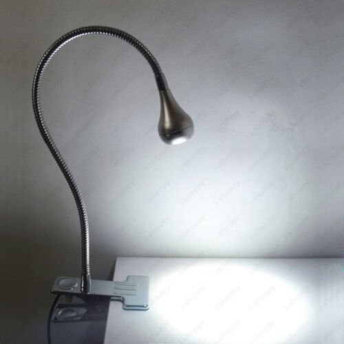 Flexible Pipe 3W LED Desk Reading Lamp Clamp Clip On//Off Switch Plug Light