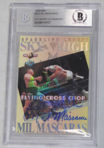 Mil Mascaras Signed 1998 BBM Card #8 BAS Beckett COA WWE New Japan Pro Wrestling