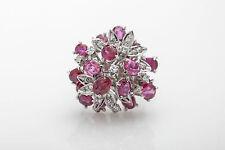 Vintage $9000 10ct Natural BURMA Ruby VS H Diamond 14k White Gold Cocktail Ring