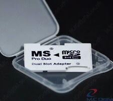 Memory Card Dual 2 Slot Adapter Micro SD TF to MS Pro Duo PSP  in a BOX, HQ