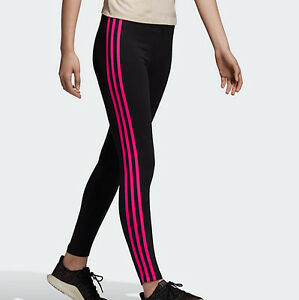 cute look for new design Details about Adidas Originals 3 stripes leggings black pink running gym UK  10 12 Womens new