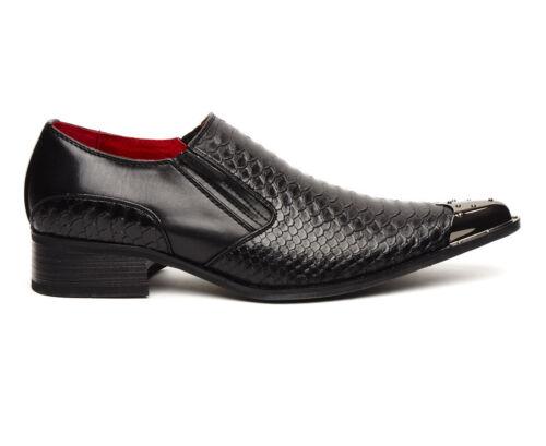 con negro Benitez en para piel Zapatos estilo piel de roca de hombres Zapato de cocodrilo punta de metal xqPOPHXng