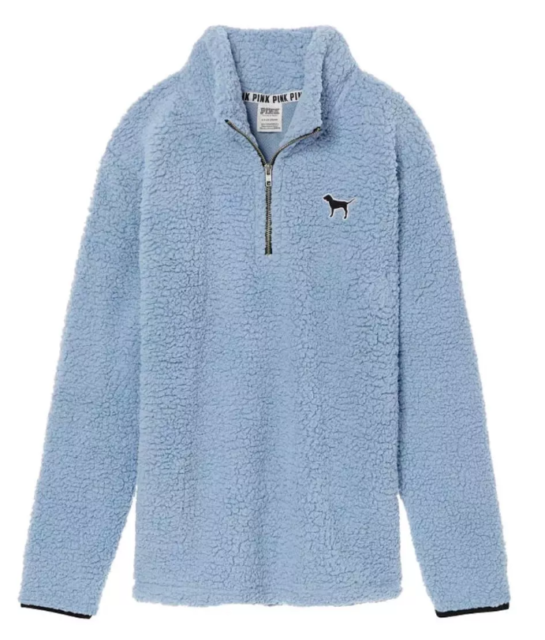 cb2241b6673 Victoria's Secret Sherpa Boyfriend Quarter Zip Jacket Sweater Blue size  Large