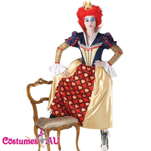 Licensed Red Queen Of Hearts Crown Wig Alice in Wonderland Costume Fancy Dress