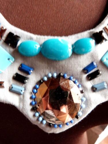 "341# RAVISSANT COLLIER FANTAISIE /"" DREAM BLUE /"" TISSU CABOCHON PERLE SHABBY CHIC"