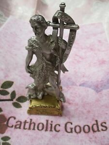Pewter-Saint-St-John-the-Baptist-Statue-on-Gold-Tone-Base-4-1-2-034-USA-made
