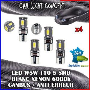 4-x-ampoule-veilleuse-Feu-LED-W5W-T10-BLANC-XENON-6000k-voiture-auto-moto-5-smd
