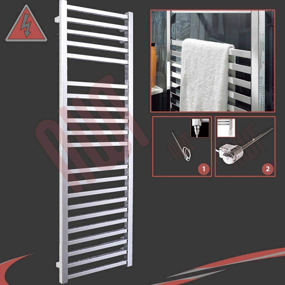 500mm(w) x 1700mm(h) Pre-Filled Electric  Denbigh  Chrome Towel Rail - 600W