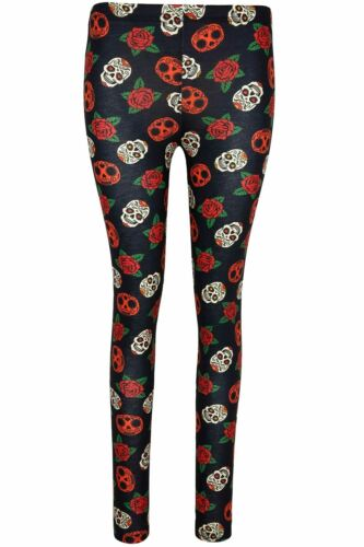 Womens Bat Skull Face Party Halloween Costume Ladies Stretchy Jeggings Leggings