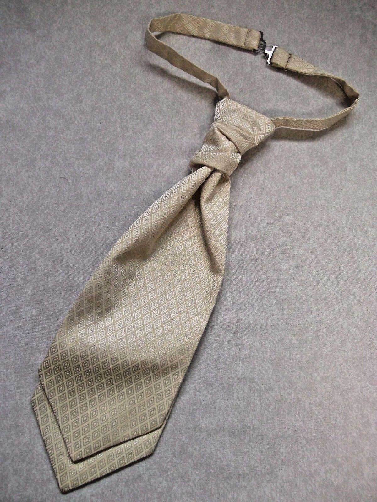 Formal Cravat MENS WEDDING Scrunchie Ruche Pre Tied Adjustable CREAM