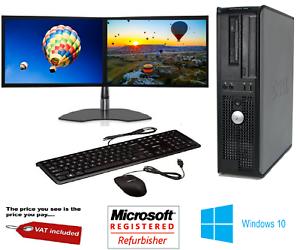 Rapide-Dell-Quad-Core-Ordinateur-PC-De-Bureau-Tour-Windows-10-WIFI-double-ecran-PC