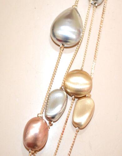 COLLANA LUNGA donna argento oro dorato rosa pietre ciondoli satinate fili GP5L