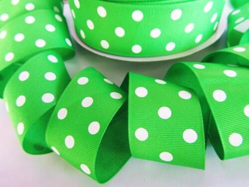 "5 yards Apple Green//White Polka Dots Grosgrain 1.5/"" Ribbon 38mm Wide//Craft R20-R"