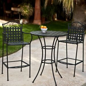 Charmant Details About Wrought Iron Bar Height Bistro Set 2 Chairs Outdoor Patio  Furniture Woven Black